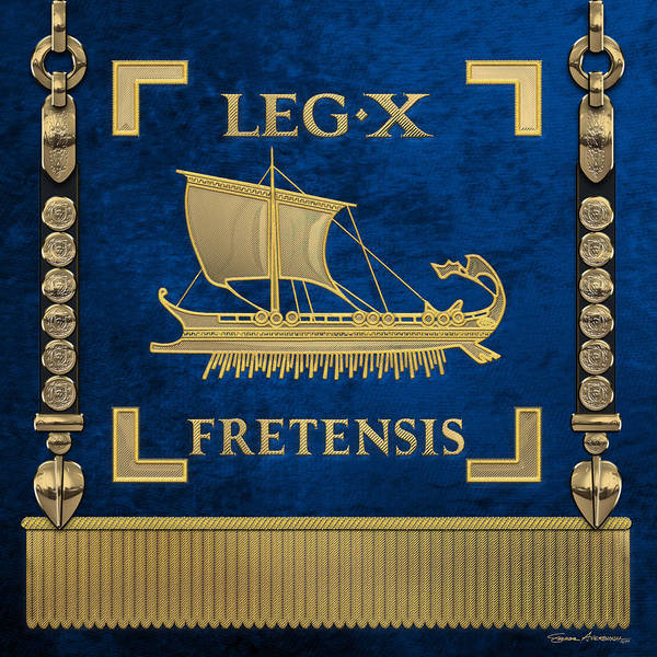 Digital Art - Trireme Standard Of The 10th Legion Of The Strait - Blue Vexilloid Of Legio X Fretensis by Serge Averbukh
