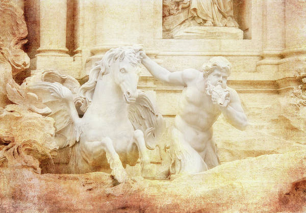 Trevi Fountain Digital Art - Triton And Horse by Terry Davis