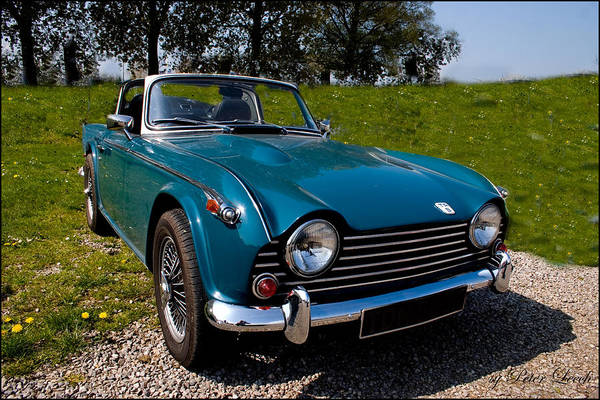 Digital Art - Triumph Tr5 Blue by Peter Leech