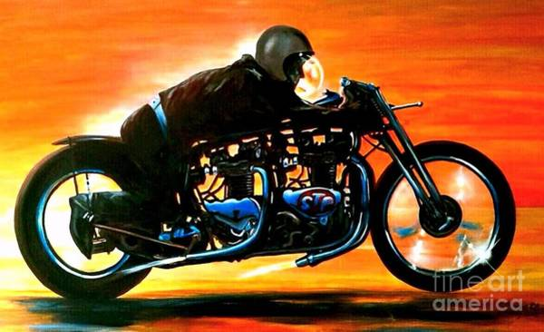 Wall Art - Painting - Triumph Twin At Bonneville 1962 by Richard John Holden RA