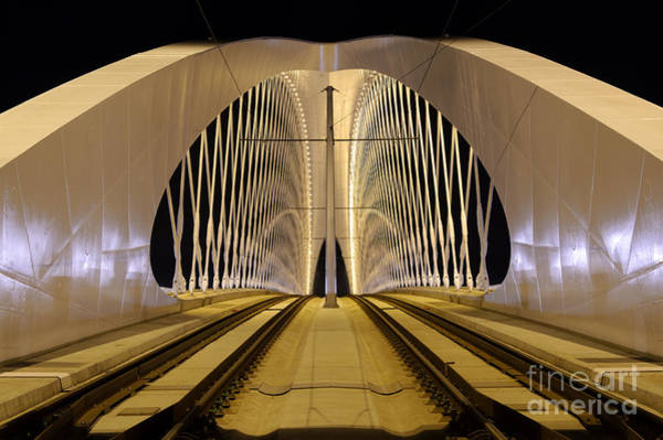 Tram Wall Art - Photograph - Troja Bridge In Prague. Beautiful Night by Stanislav Duben
