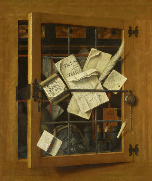 Safe Painting - Trompe L'oeil With An Open Cabinet by Cornelis Norbertus Gysbrechts