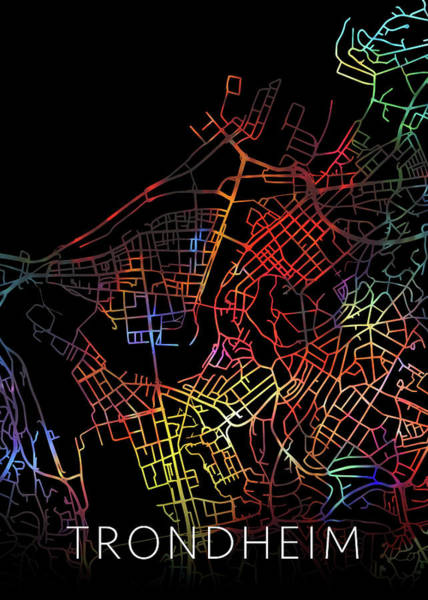 Wall Art - Mixed Media - Trondheim Norway Watercolor City Street Map Dark Mode by Design Turnpike