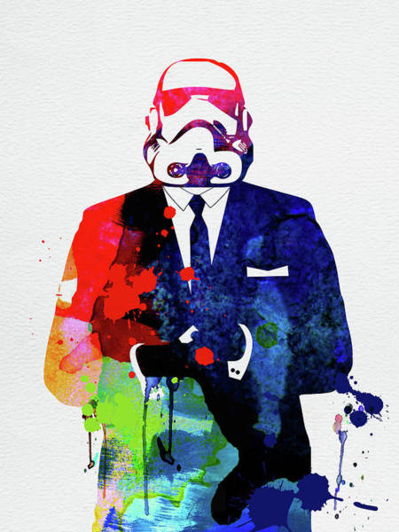 Wall Art - Mixed Media - Trooper Boss Watercolor by Naxart Studio