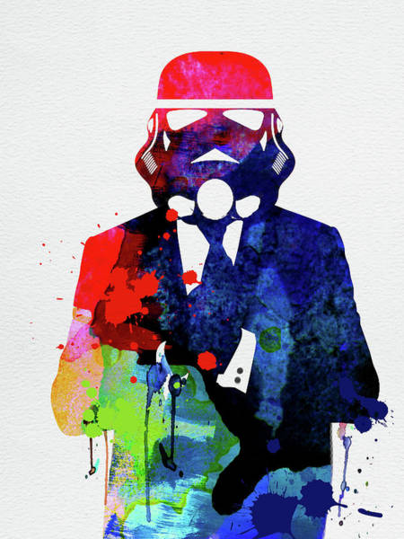 Movie Stars Wall Art - Mixed Media - Trooper In Suite Watercolor by Naxart Studio