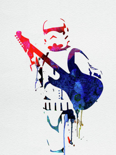 Cult Movie Wall Art - Mixed Media - Trooper Playing Guitar Watercolor by Naxart Studio