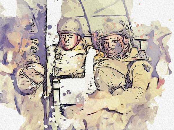 Wall Art - Painting - Troops From The 101st Airborne With Full Packs And A Bazooka, In A C-47 Just Before Take-off From Ra by Celestial Images