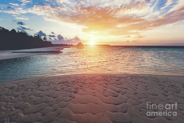 Photograph - Tropical Beach During Sunset On An Island. by Michal Bednarek