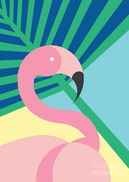 Pastel Colors Digital Art - Tropical Bird In Abstract Geometric by Radiocat