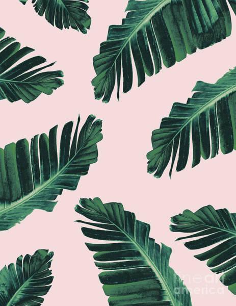 Banana Leaf Mixed Media - Tropical Blush Banana Leaves Dream #3 #decor #art by Anita Bella Jantz