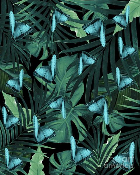 Banana Leaf Mixed Media - Tropical Butterfly Jungle Night Leaves Pattern #5 #tropical #decor #art by Anita Bella Jantz