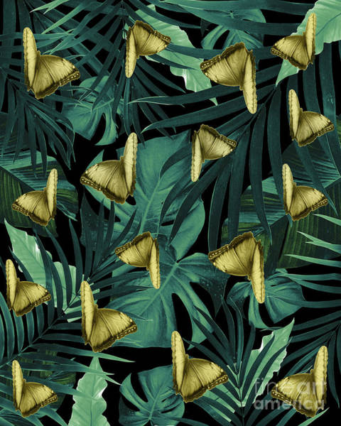 Banana Leaf Mixed Media - Tropical Butterfly Jungle Night Leaves Pattern #6 #tropical #decor #art  by Anitas and Bellas Art