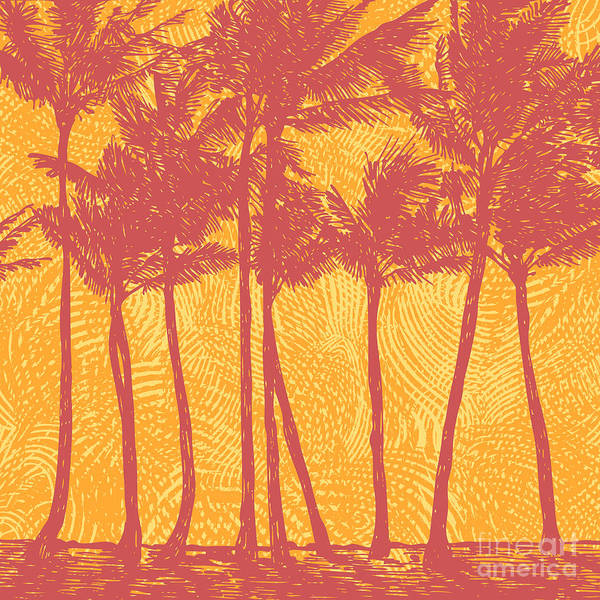 Wall Art - Digital Art - Tropical Coast With Palms. Vector by Jumpingsack