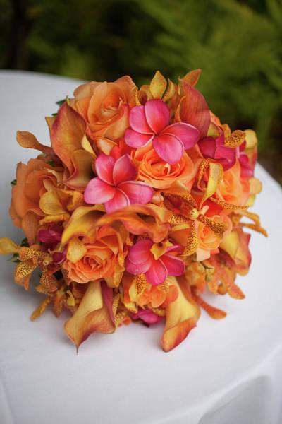 Wedding Bouquet Photograph - Tropical Colorful Bridal Bouquet by Segray