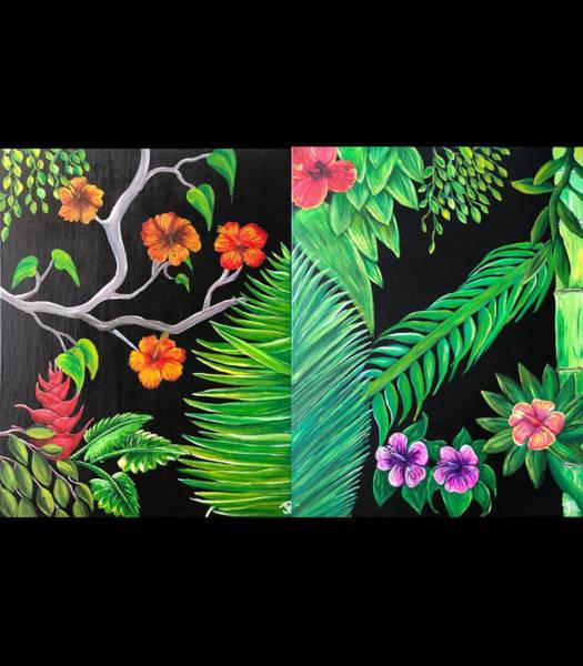 Wall Art - Painting - Tropical Diptych  by Jen Robinson