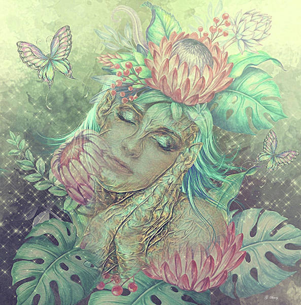 Wall Art - Mixed Media - Tropical Exotic Elf 02 by G Berry