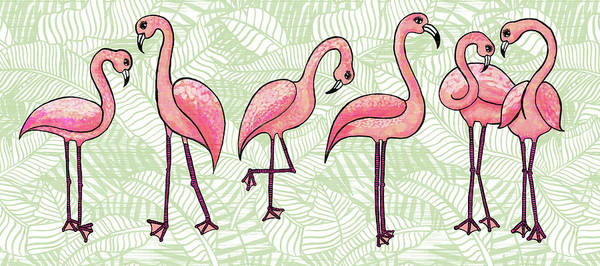 Painting - Tropical Flamingos by Jen Montgomery