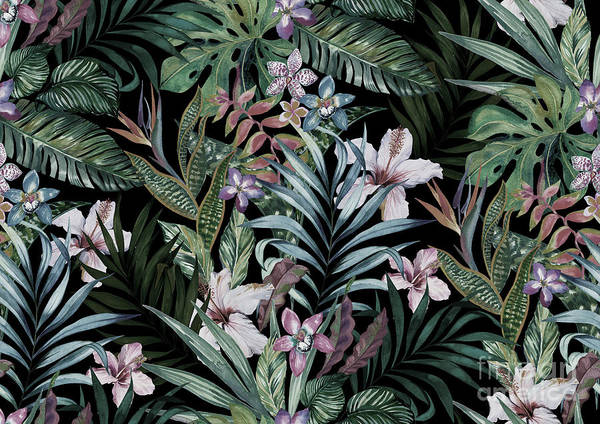 Swimwear Wall Art - Digital Art - Tropical Floral Print. Variety Of by Rosapompelmo