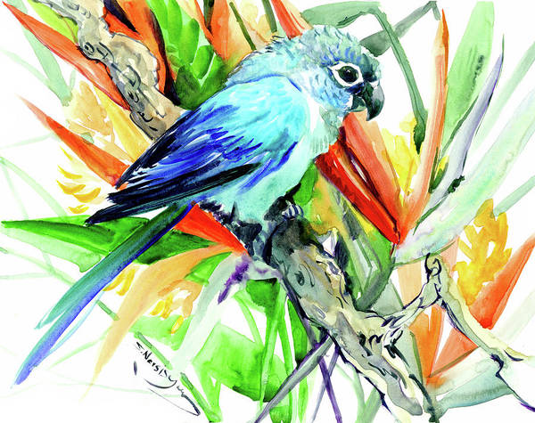 Wall Art - Painting - Tropical Foliage And Parrot by Suren Nersisyan
