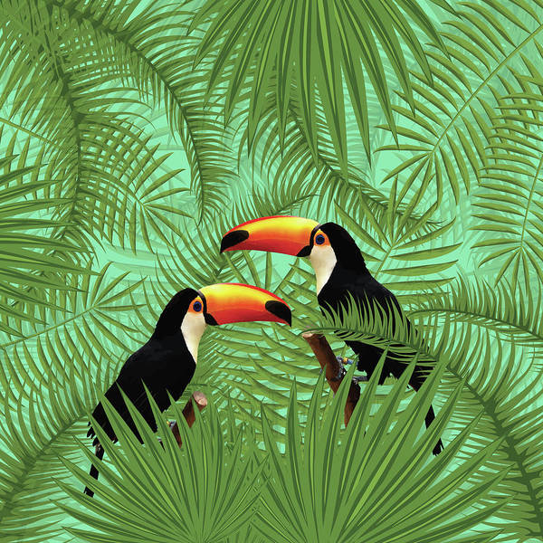 Bright Mixed Media - Tropical Forest - Toucan Birds - Tropical Palm Leaf Pattern - Leaf Pattern - Tropical Print 1 by Studio Grafiikka