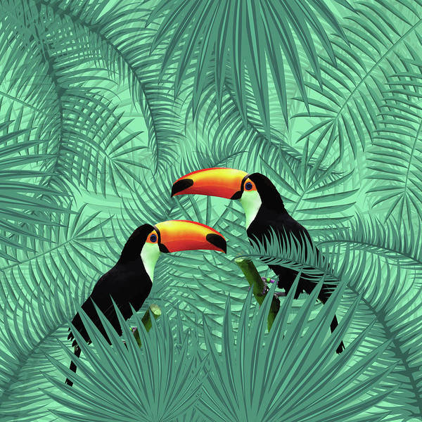 Greenery Mixed Media - Tropical Forest - Toucan Birds - Tropical Palm Leaf Pattern - Leaf Pattern - Tropical Print 2 by Studio Grafiikka