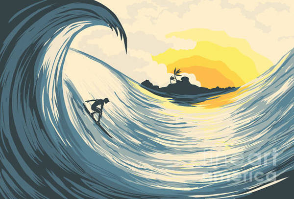 Wall Art - Digital Art - Tropical Island Wave And Surfer  At by Katerina Kirilova