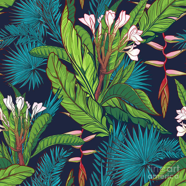 Tropical Jungle Seamless Pattern On Art Print