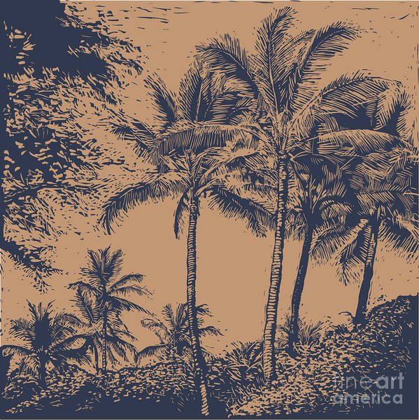 Event Wall Art - Digital Art - Tropical Landscape With Palms Trees by Jumpingsack