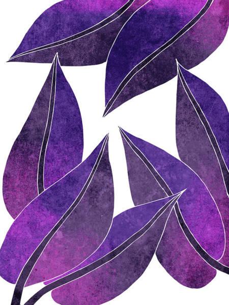 Fresh Mixed Media - Tropical Leaf Illustration - Violet, Purple - Botanical Art - Floral Design - Modern, Minimal Decor by Studio Grafiikka
