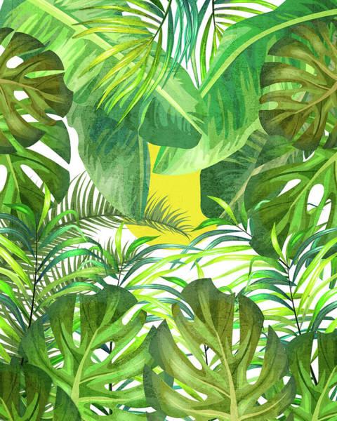 Banana Leaf Mixed Media - Tropical Leaf Pattern 01- Banana, Palm Leaf, Monstera Leaf - Green, Freshness, Tropical, Botanical by Studio Grafiikka