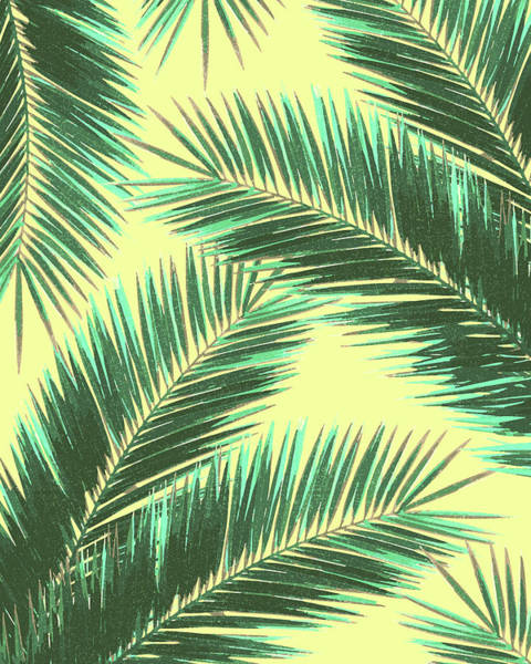 Palm Tree Mixed Media - Tropical Palm Leaf Pattern 3 - Tropical Wall Art - Summer Vibes - Modern, Minimal - Green, Beige by Studio Grafiikka