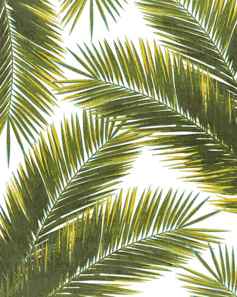 Olives Mixed Media - Tropical Palm Leaf Pattern 5 - Tropical Wall Art - Summer Vibes - Modern, Minimal - Green, Yellow by Studio Grafiikka