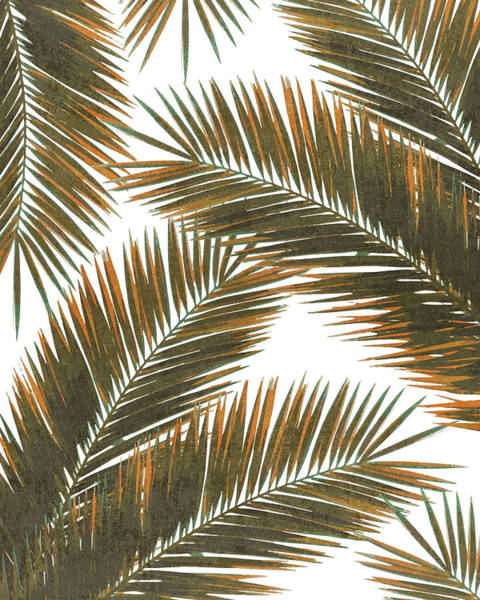 Bright Mixed Media - Tropical Palm Leaf Pattern 6 - Tropical Wall Art - Summer Vibes - Modern, Minimal - Brown, Copper by Studio Grafiikka