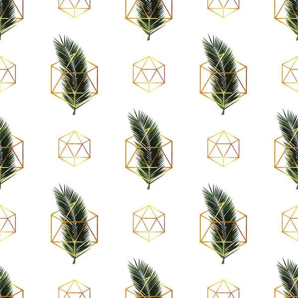 Greenery Mixed Media - Tropical Palm Leaf Pattern - Gold Geometric Pattern 1 - Tropical Wall Art - Palm Leaf And Gold by Studio Grafiikka