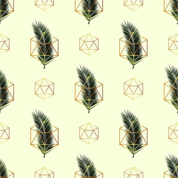 Greenery Mixed Media - Tropical Palm Leaf Pattern - Gold Geometric Pattern 3 - Tropical Wall Art - Palm Leaf And Gold by Studio Grafiikka
