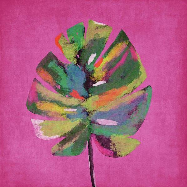 Wall Art - Painting - Tropical Palm Leaf Pink- Art By Linda Woods by Linda Woods