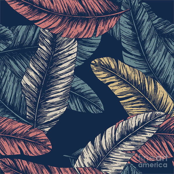Botany Wall Art - Digital Art - Tropical Palm Leaves. Seamless Pattern by Adehoidar