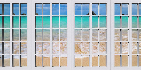 Framing Photograph - Tropical Paradise Beach Day Windows by Betsy Knapp