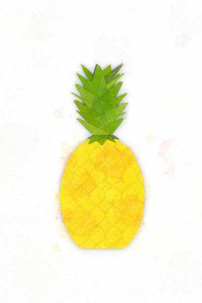 Photograph - Tropical Pineapple Digital Watercolor by Colleen Cornelius