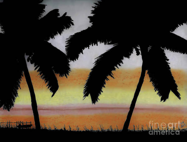 Drawing - Tropical - Sunset by D Hackett