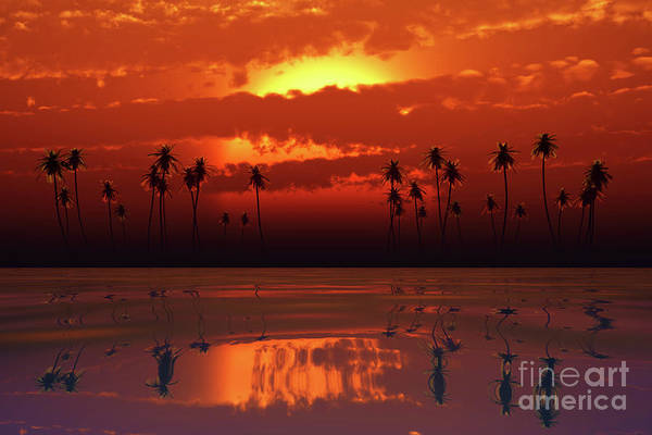 Wall Art - Photograph - Tropical Sunset With Orange Clouds by Aleksey Tugolukov