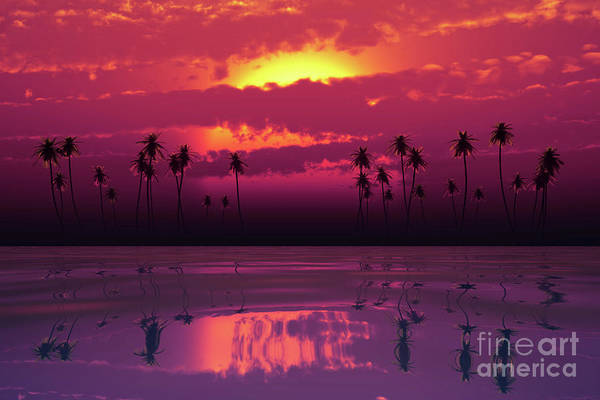 Wall Art - Photograph - Tropical Sunset With Pink Clouds by Aleksey Tugolukov