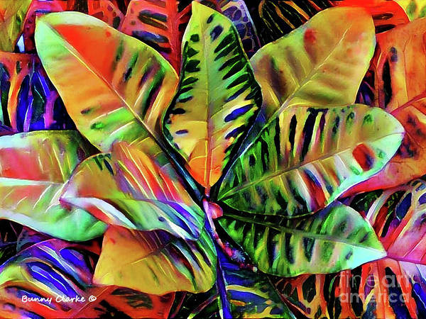 Wall Art - Digital Art - Colorful Tropical Leaves by Bunny Clarke