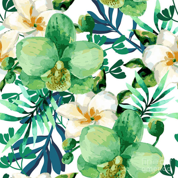 Repetition Wall Art - Digital Art - Tropical Watercolor Floral Seamless by Ponomarchuk Olga