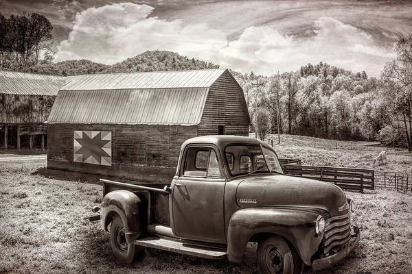 Photograph - Truck At The Farm Barn In Sepia Tones by Debra and Dave Vanderlaan
