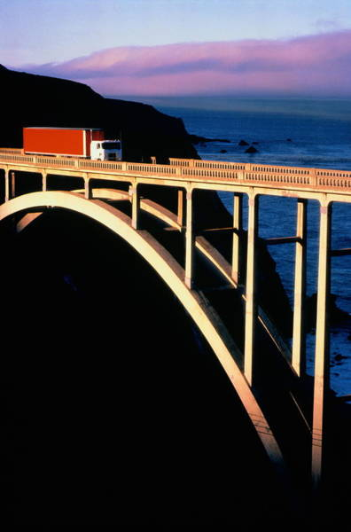 Big Sur Photograph - Truck Crossing Bigsby Bridge,big by Terry Vine