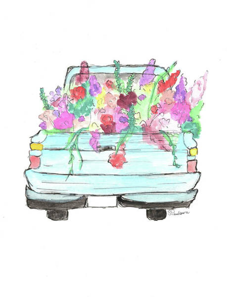 Old Chevy Truck Painting - Truck Of Flowers by Sara Paulson