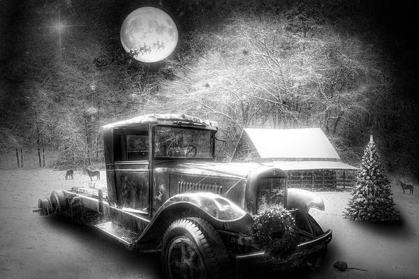 Photograph - Truck On Christmas Eve Black And White by Debra and Dave Vanderlaan