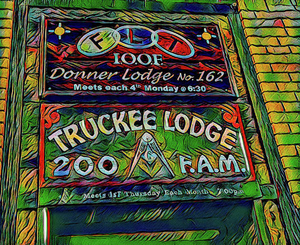 Digital Art - Truckee Masonic Lodge Green Theme by Joe Lach