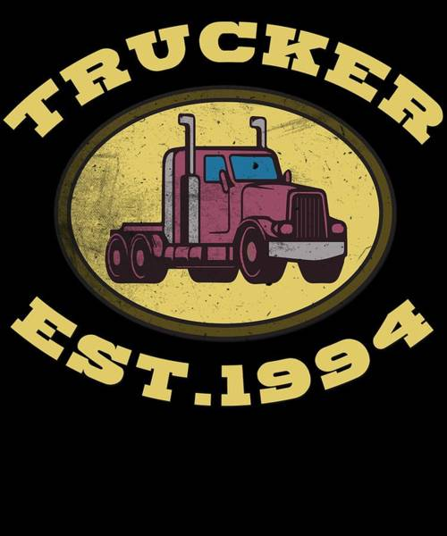 Moustache Mixed Media - Trucker Truck Driver Highway 8 Drive Transport Driver Lkw Funny Tshirt by Roland Andres